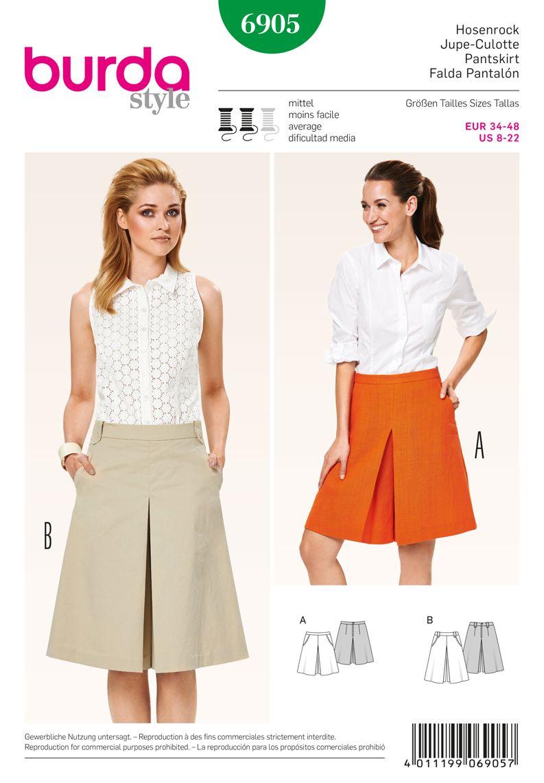 Burda 6905 Burda Style Skirts Sporty pant-skirt with hip yoke ...