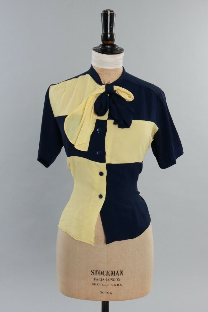 Vintage 1940s Color Block Swag Dress: Vintage 1940s Yellow And Navy Blue Colour Block Blouse W