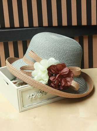 Flower paper straw bow curling hat flanging hat