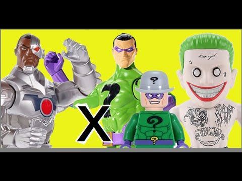 Ciborgue Cyborg Charada Riddler Coringa Joker DC Comics Imaginext Lego B...