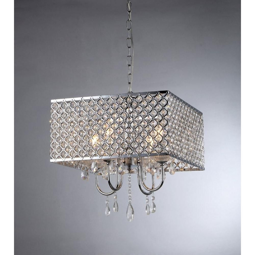 Warehouse Of Tiffany Zarah 4 Light Chrome Crystal Chandelier With Shade Rl5623 The Home Depot Warehouse Of Tiffany Crystal Chandelier Indoor Pendant