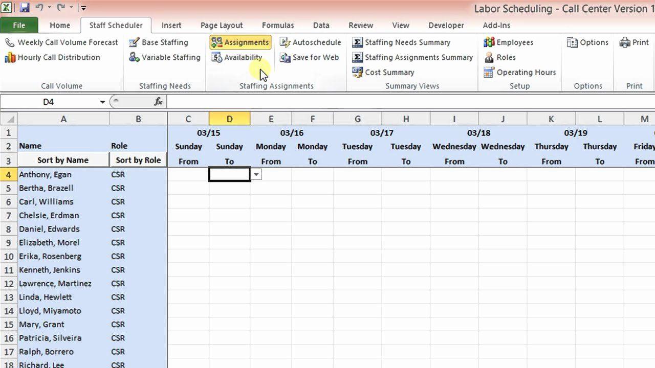 Workforce Planning Template Excel Fresh Labor Scheduling Template