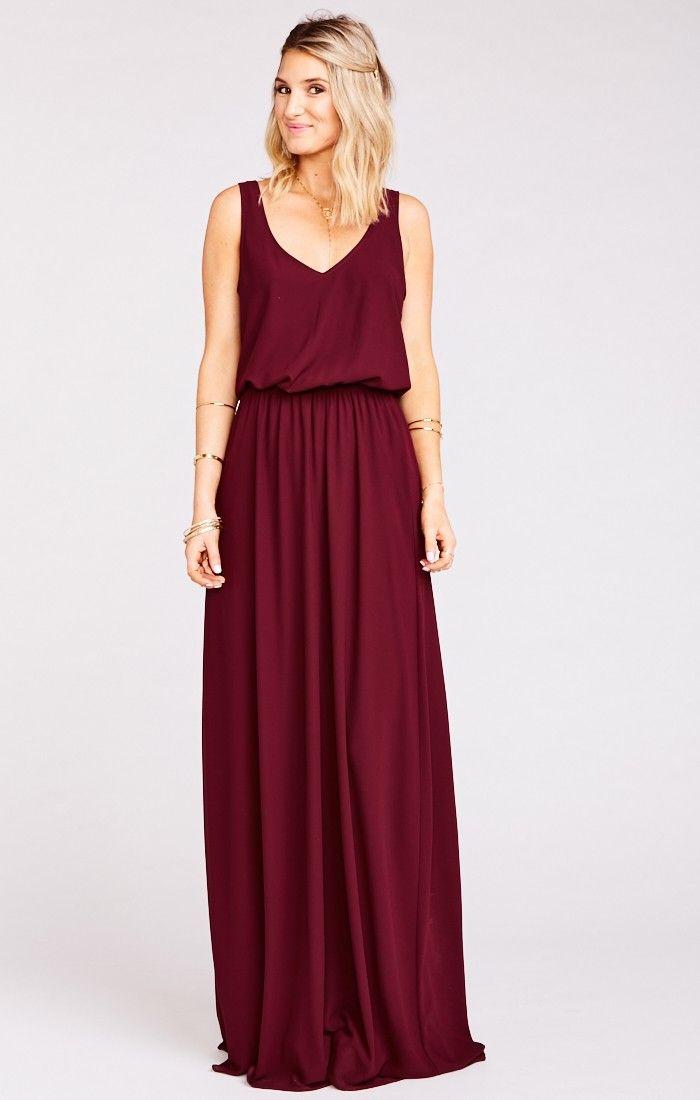 Show Me Your Mumu Kendall Maxi Dress Merlot Chiffon