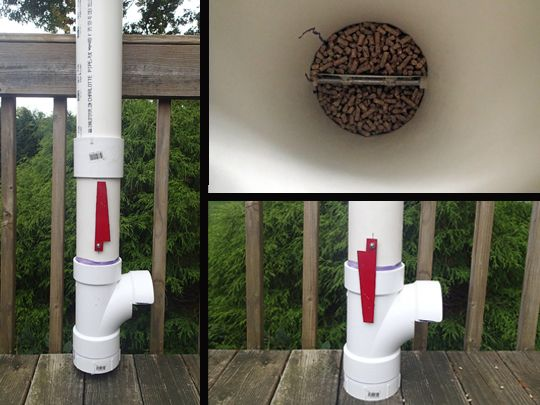 Diy pvc chicken feeder with flag indicator to alert you for Pvc chicken waterer plans