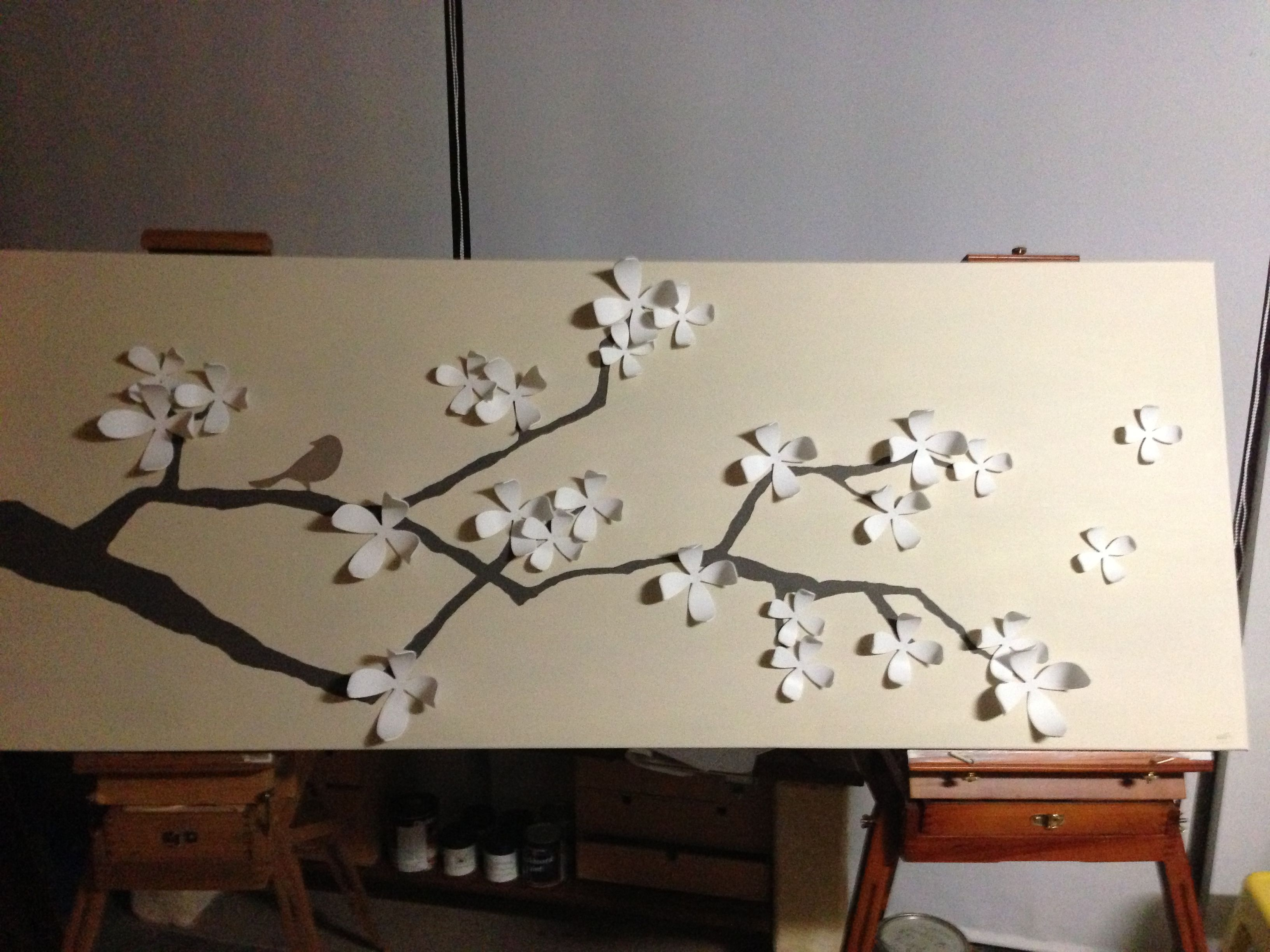 umbra wall flowers on canvas painted as cherry blossom branch for  - umbra wall flowers on canvas painted as cherry blossom branch for my sister