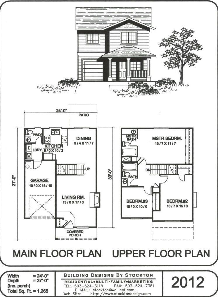 24 Wide 1 265 Sq Ft 2 Storey House Design Brick House Plans