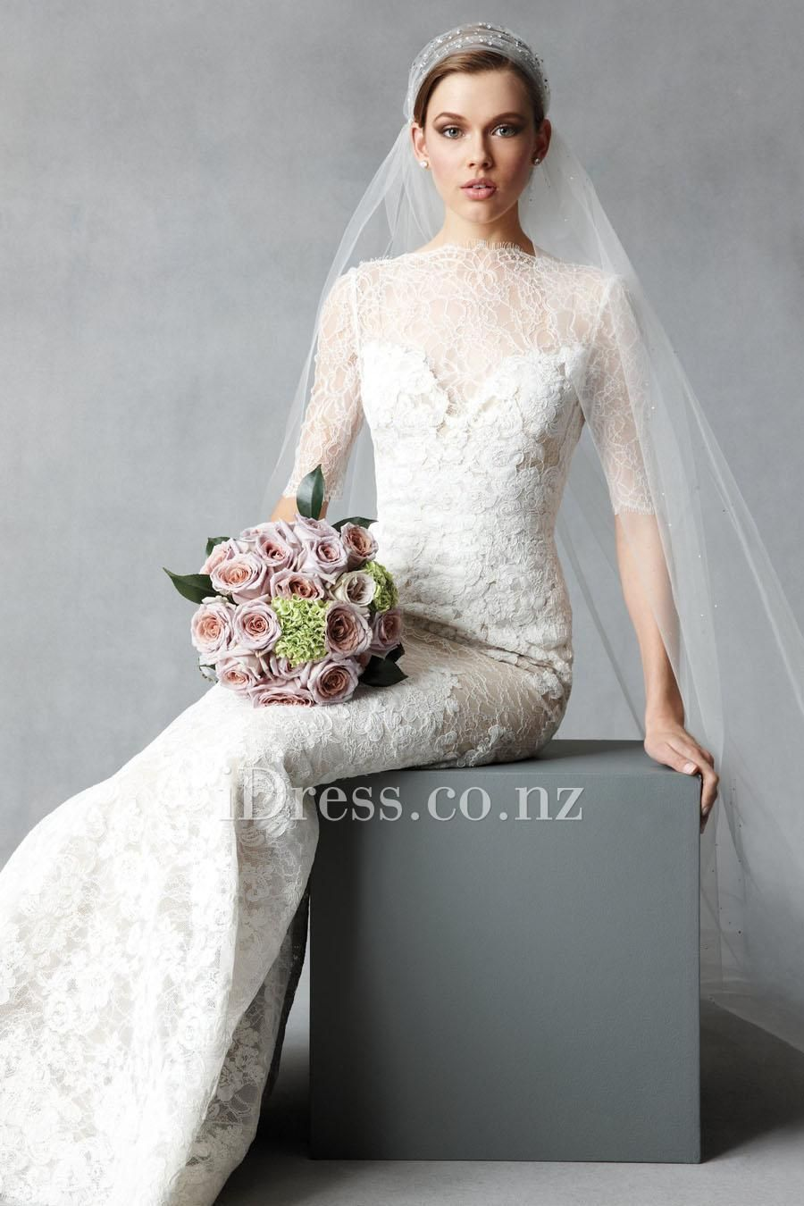 Cheap wedding dresses with sleeves  sweetheart lace and charmeuse fit and flare wedding dress with elbow