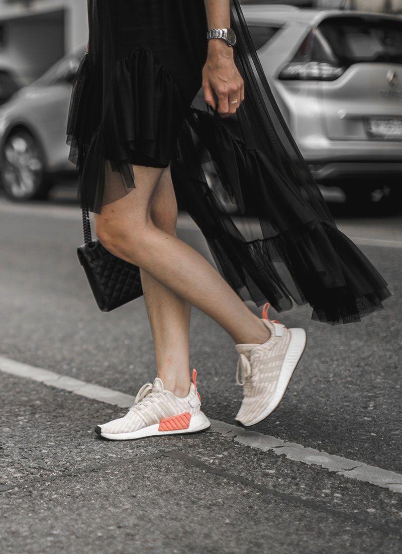 sheer dress & adidas nmd r2 roller knit | Adidas nmd