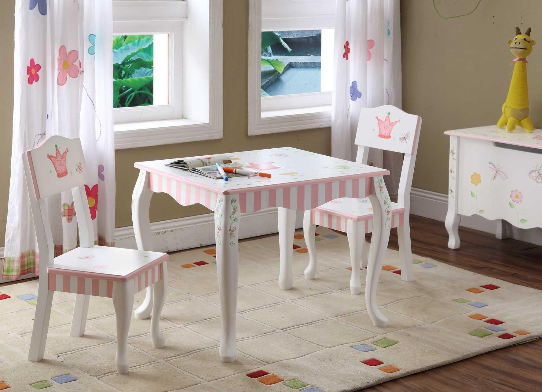 Furniture Kids Room Princess Themes White Painted Wooden Table and