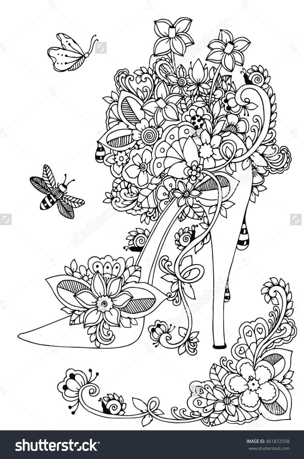 Zentangle Women High Heel Shoe With Flowers Doodle Drawing Coloring Book Anti Stress 461872558 Shutterstock