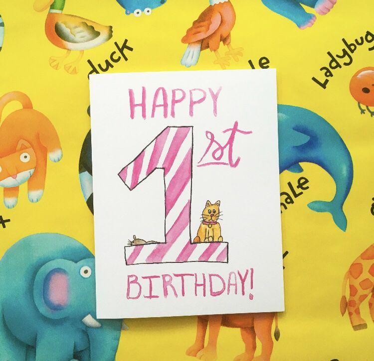 1st Birthday Cat Greeting Card Watercolor Illustration