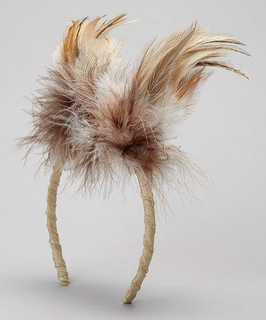 Brown & Ivory Owl Feather Headband #zulily #zulilyfinds