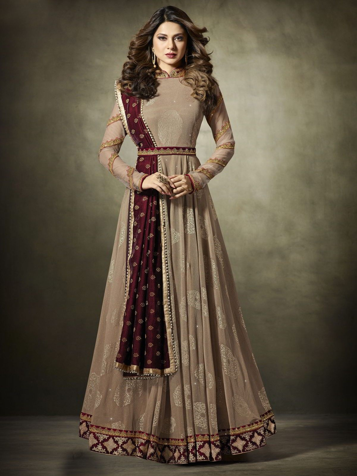 6aea042d95 The gorgeous bollywood diva jennifer winget style chikoo partywear anarkali  suit online which is crafted from tone tone silk, micro velet fabric with  ...
