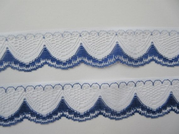 Royal Blue and White Lace Trim Ribbon 1 12 inch wide Sewing Trim Scrapbook Card Decoration Wedding Lace Bridal Gift Wrap Basket Craft WL30