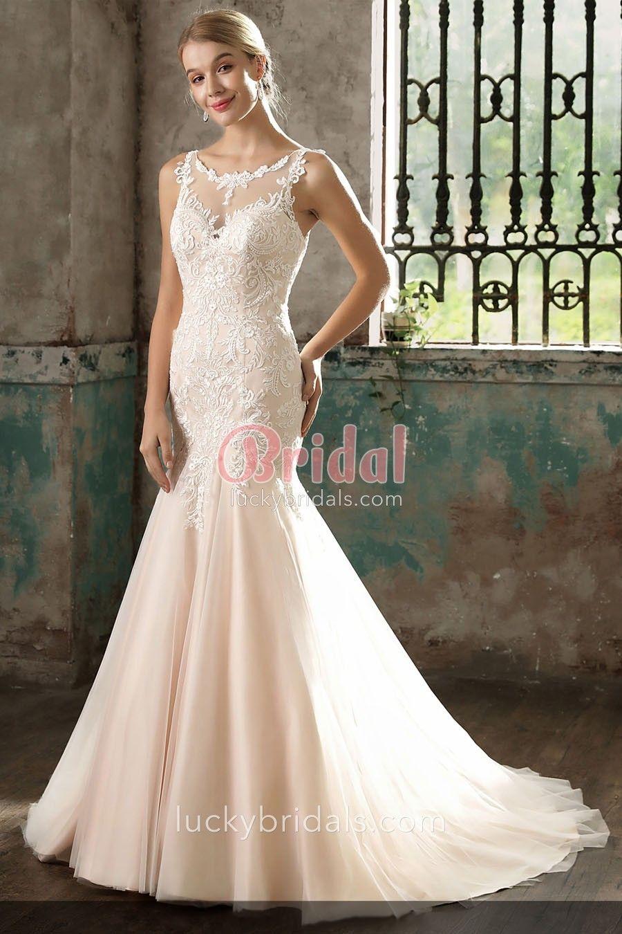 ef1b47dc5cdd Blush Lace Wedding Dress Mermaid