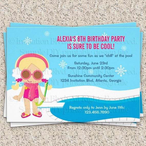 winter pool party invitation girl swim party invitation kids