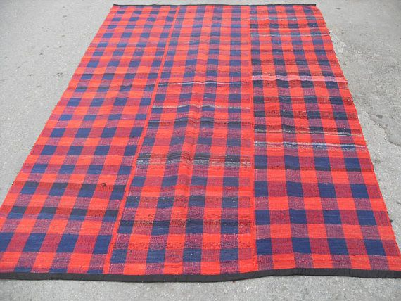 Red Blue Kilim Rug Vintage Turkish 104 X