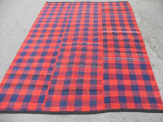 Red Blue Kilim Rug Vintage Turkish 104 X