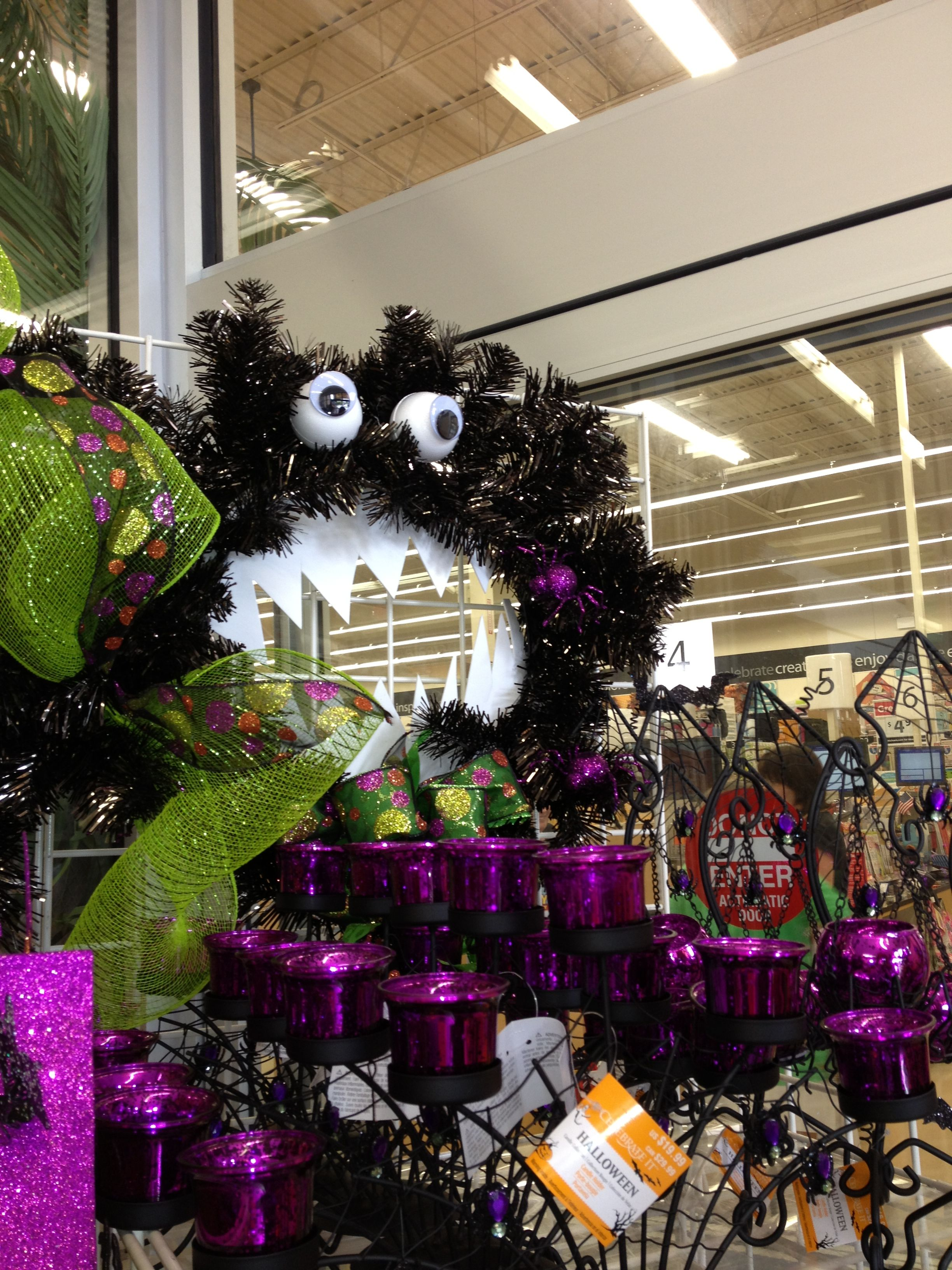 Adorable Halloween wreath seen in Michael's Arts & Craft