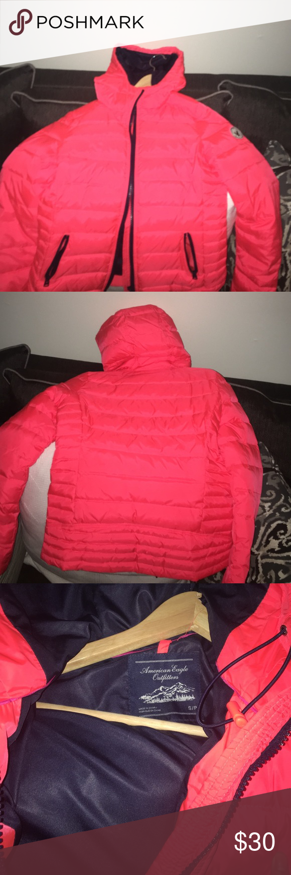 American eagle 🦅 jacket Very bright outstanding coat.. use to keep me warm but cannot fit me only wore twice in my life !!! MAKE OFFERS AND NO I DO NOT DO TRADES ‼️🚫❌ Jackets & Coats Puffers