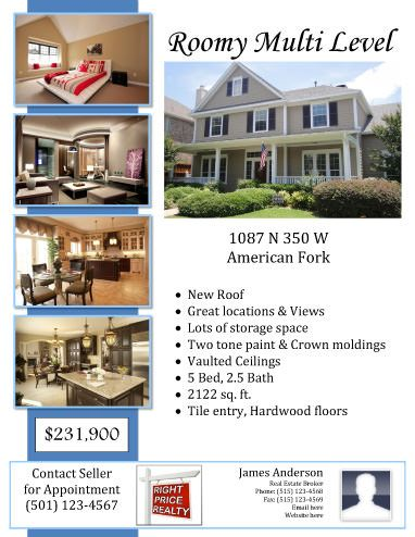 Sample Flyer with real estate agent information Free templates - for sale template free