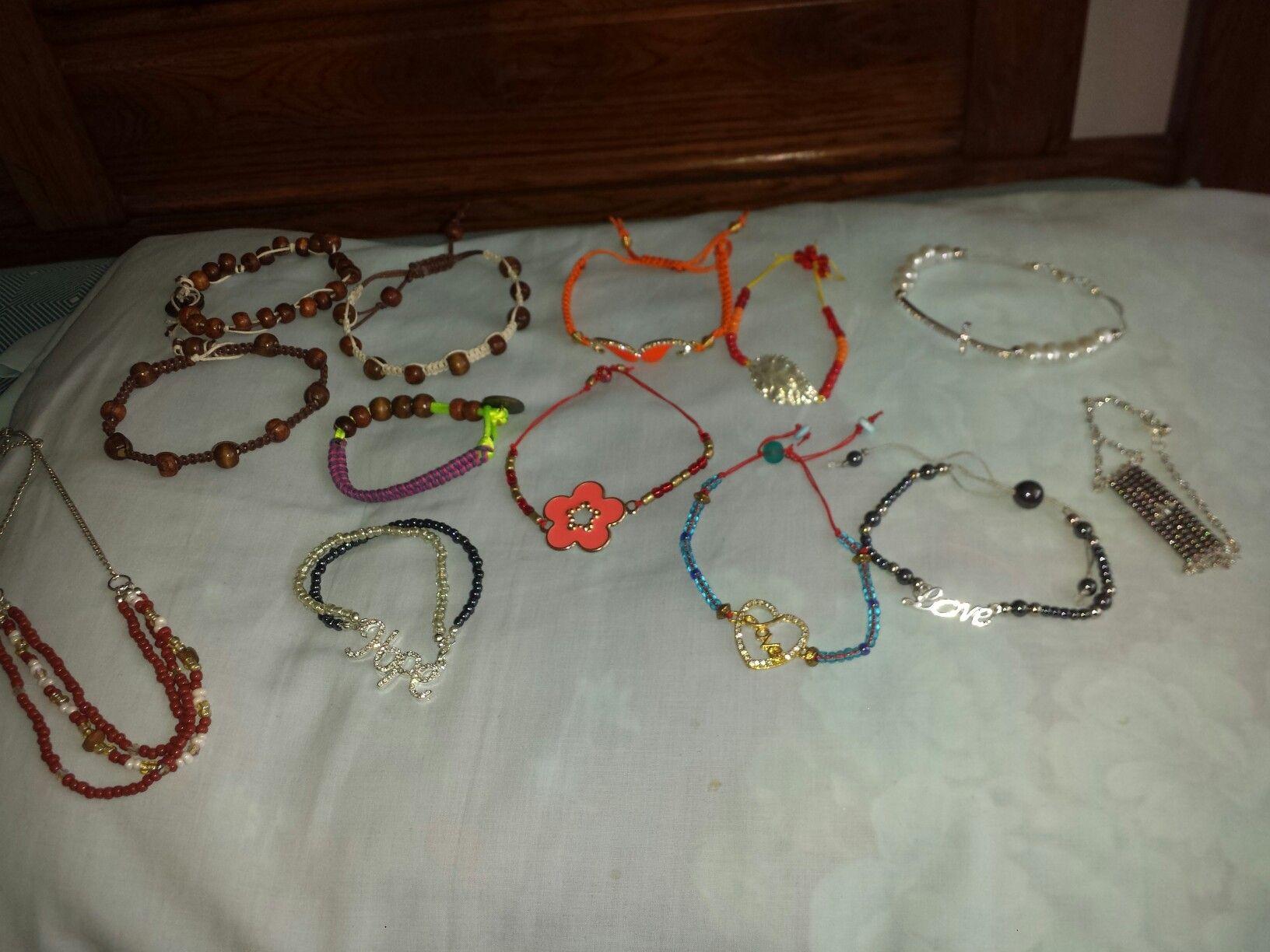 Mens shambala wood bracelets and women charm bracelets made of glass beads.. necklace of glass beads twistable...I love creating.