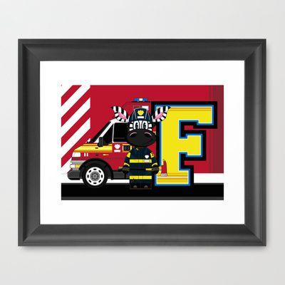F is for #Fireman Framed Art Print by markmurphycreative - $36.00