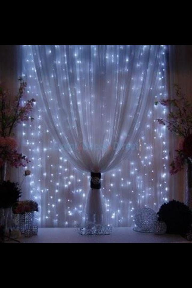 mini lights behind sheer fabric very romantic look led may work best for a blueish look or old fashioned white christmas lights for a more subtle look