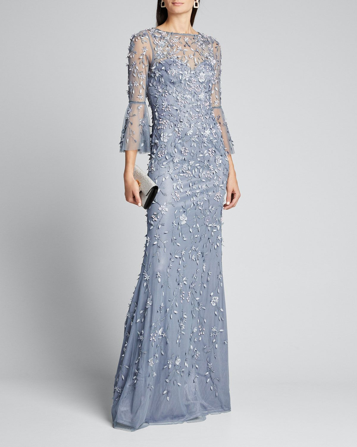 Theia Hand Beaded Petal Applique 3 4 Bell Sleeve Column Gown Theia Cloth Formal Dresses With Sleeves Column Gown Long Sleeve Dress [ 1500 x 1200 Pixel ]
