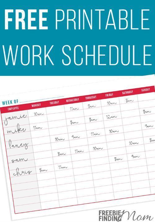 free printable work schedule for moms pinterest schedule