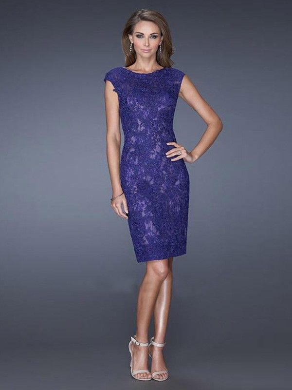 a26af3ca4044 Sheath Column Scoop Sleeveless Knee-Length Lace Dresses