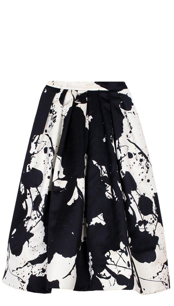 Paint Splatter Skirt - black & white printed fashion // Tibi NY
