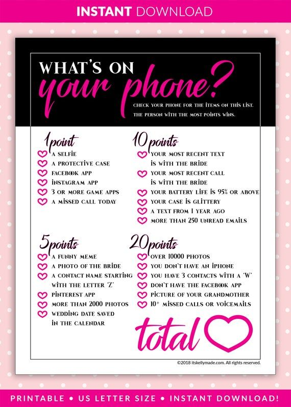 What S On Your Phone Bachelorette Party Game Instant Download