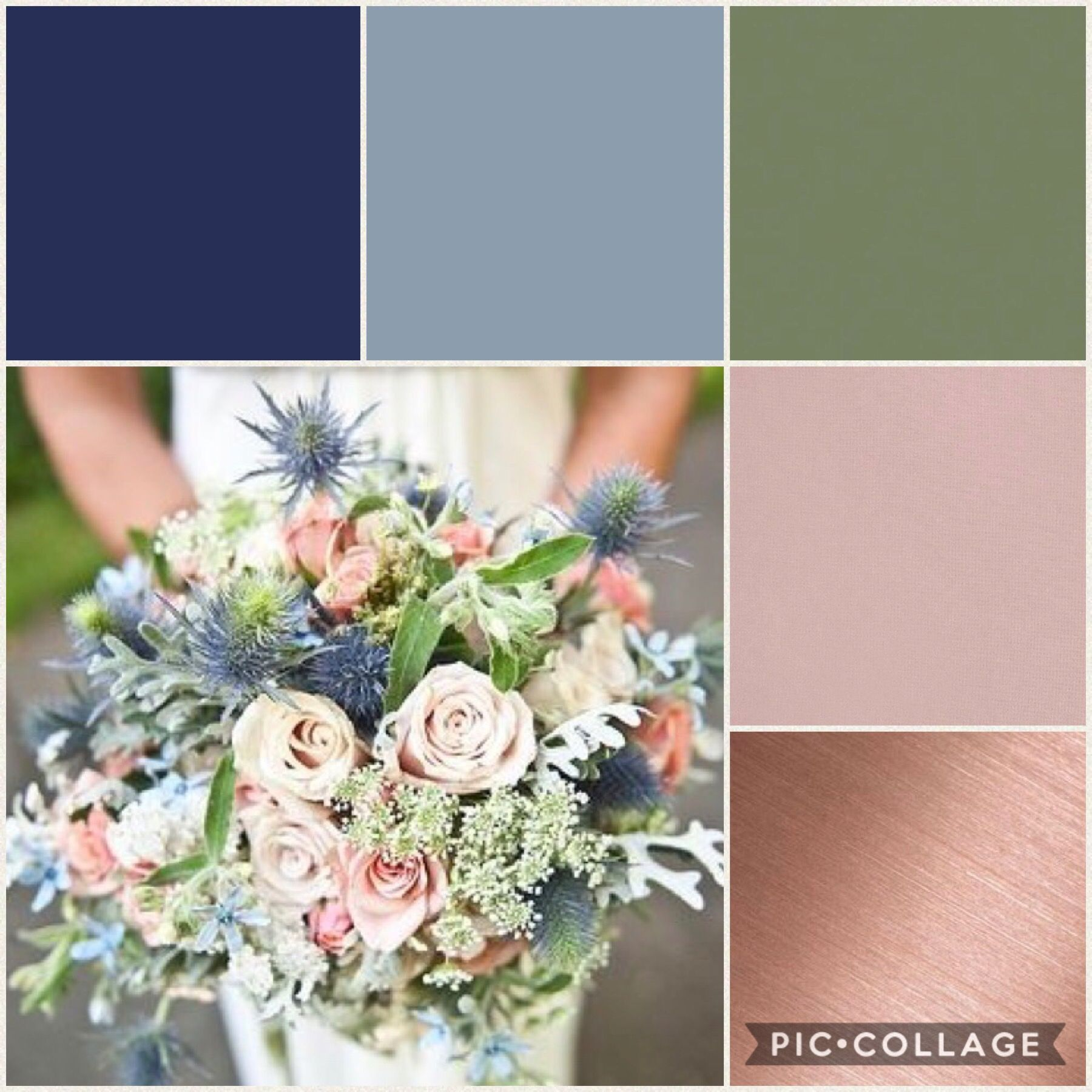 Navy blue, dusty blue, sage, dusty pink & rose gold