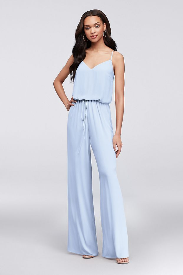 Flowy Wide-Leg Georgette Bridesmaid Jumpsuit Style F19790, Black, 0 #bridesmaidjumpsuits Flowy Wide-Leg Georgette Bridesmaid Jumpsuit | David's Bridal #bridesmaidjumpsuits