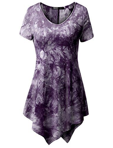 ead6a8b5b936ab TWINTH Printed Tunic Plus Size Tie Dye Short Sleeve Handkerchief Hem Loose  Fit Top Plum 2XL ** Be sure to check out this awesome product.