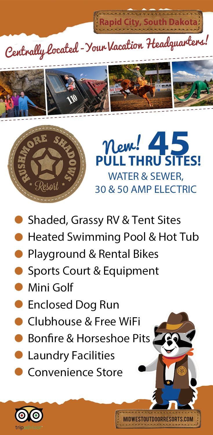 Great place to camp in the Black Hills. Minutes from all the major attractions-on the road to Mt Rushmore!