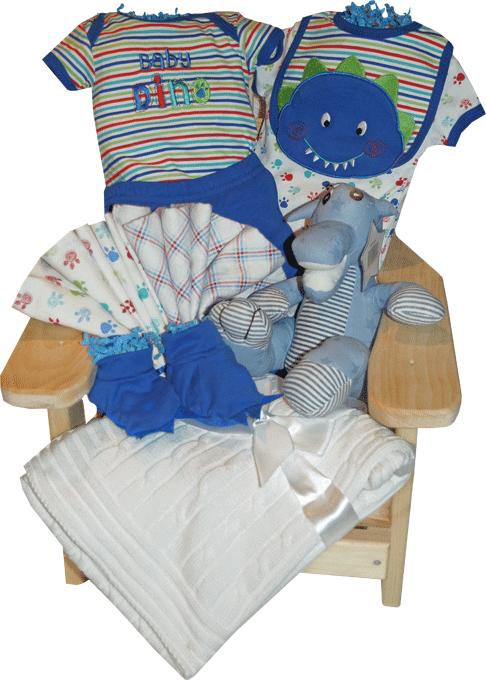 Dinosaur Themed Mini Muskoka Chair Baby Gift Basket