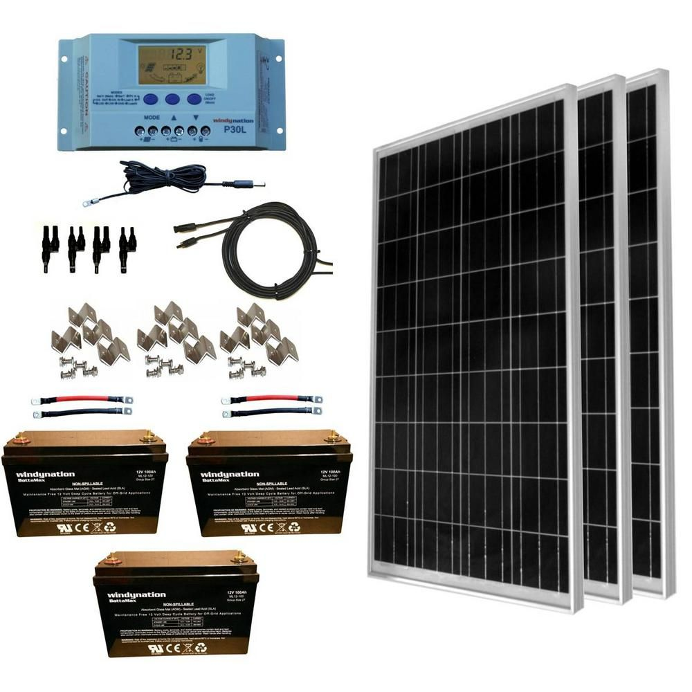 Windynation 300 Watt Off Grid Polycrystalline Solar Panel Kit With 12 Volt Agm Deep Cycle Battery Solar Panel Kits Off Grid Solar Panels Solar Kit