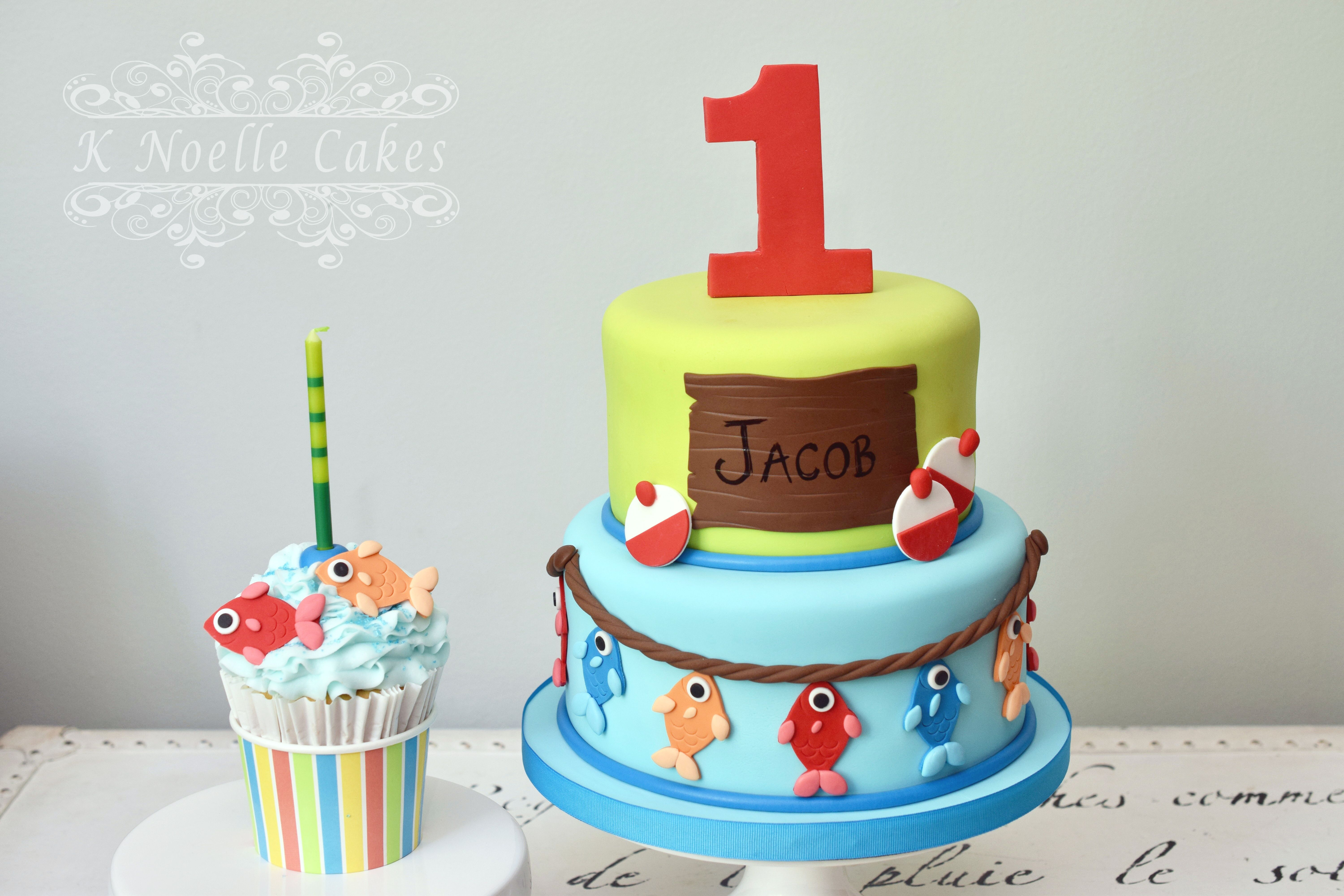 Swell Fishing Theme 1St Birthday Cake By K Noelle Cakes Boys First Personalised Birthday Cards Cominlily Jamesorg