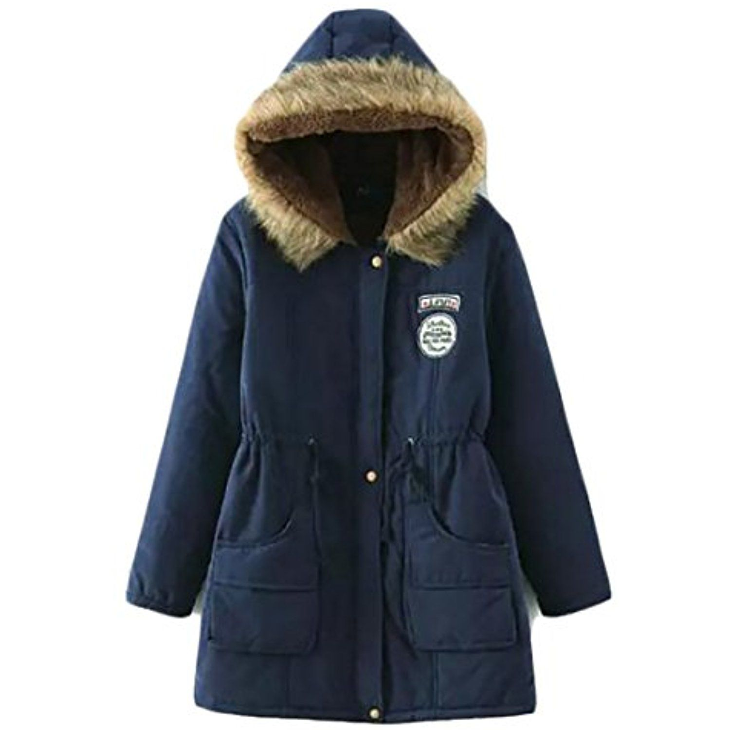 Womenus hoodie fleece zip up warm loose outdoor overcoat parka