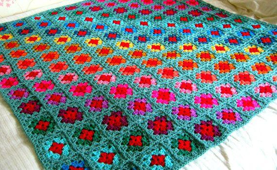 Granny Squares Decke häkeln afghanischen Throw auf Lager | Häkeln ...