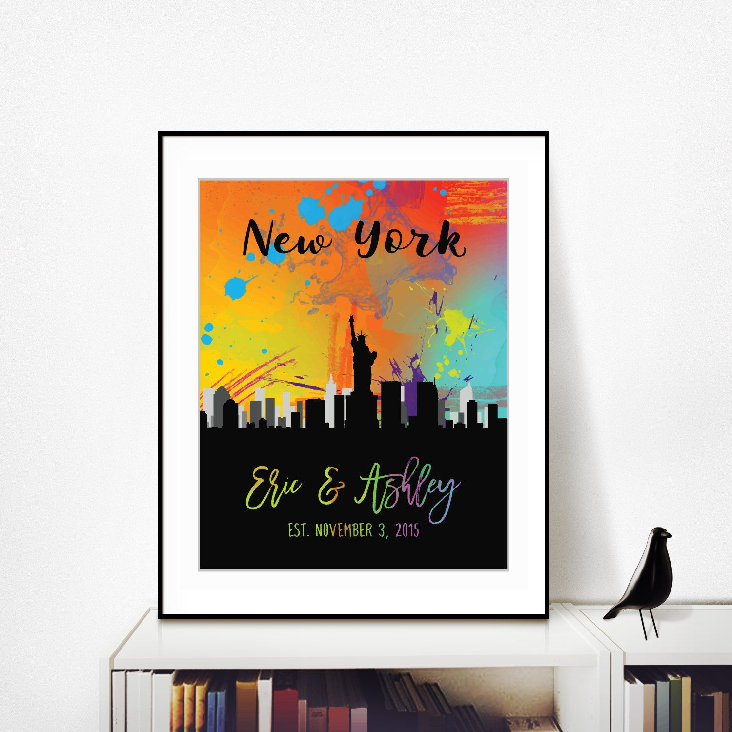 New York City Skyline Prints Personalized Anniversary Gift Boyfriend Girlfriend Birthday For Valentine Gifts Men Custom Art By