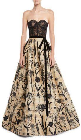 da38356a64 Oscar de la Renta Strapless Lace Bustier Full-Skirt Evening Ball Gown  affiliatelink