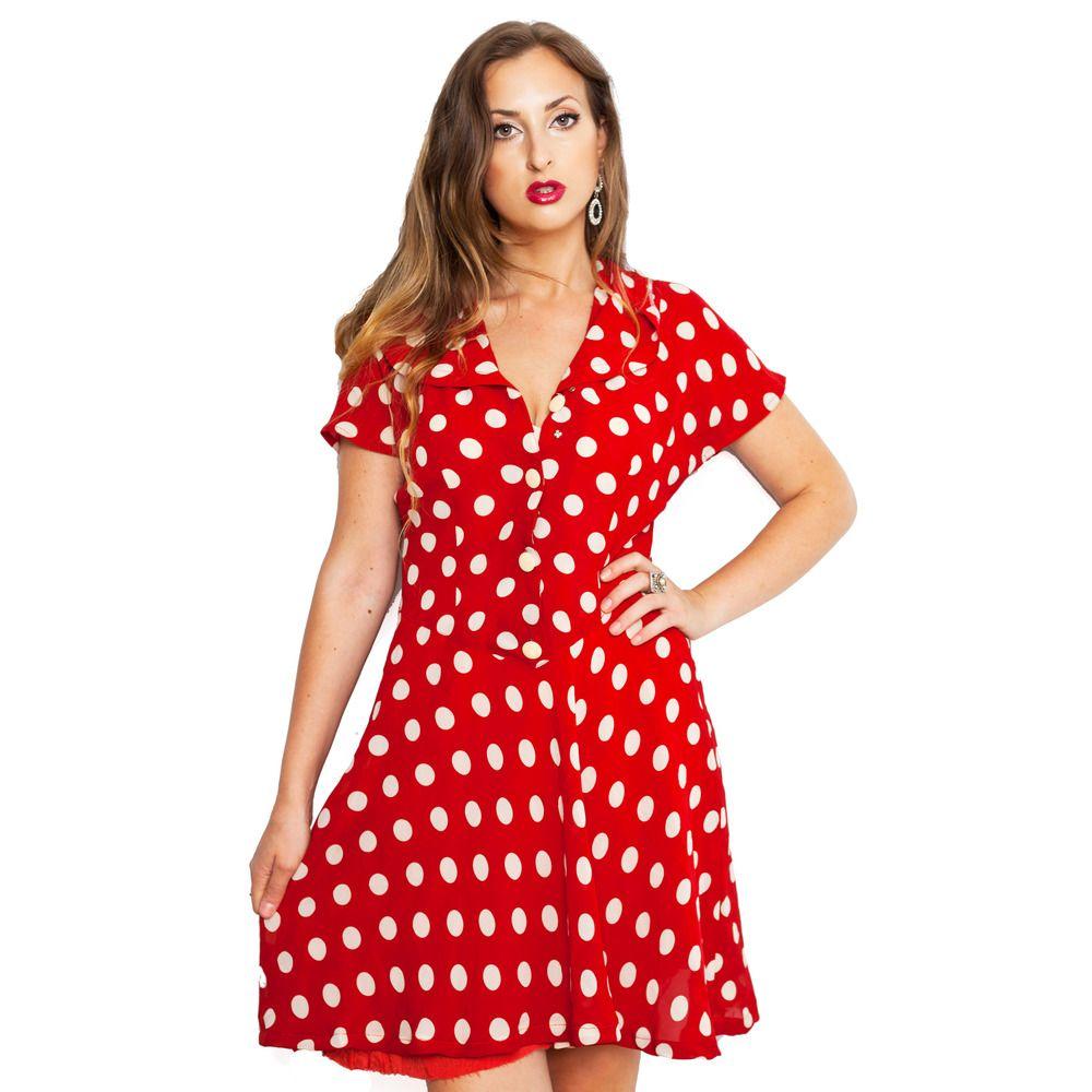Red polka dot us dress by byrd holland fashion i love