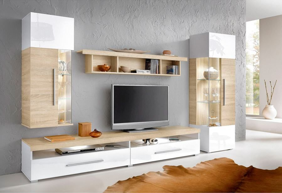 ensemble mural tv 4 l ments prix promo meuble tv 3. Black Bedroom Furniture Sets. Home Design Ideas