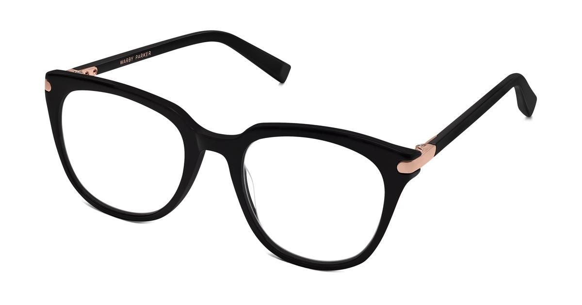 017de909433 Maeve Eyeglasses in Jet Black for Women. Maeve s round lenses and sloping  shape are only enhanced by a custom metal end piece with an integrated  hinge—a ...