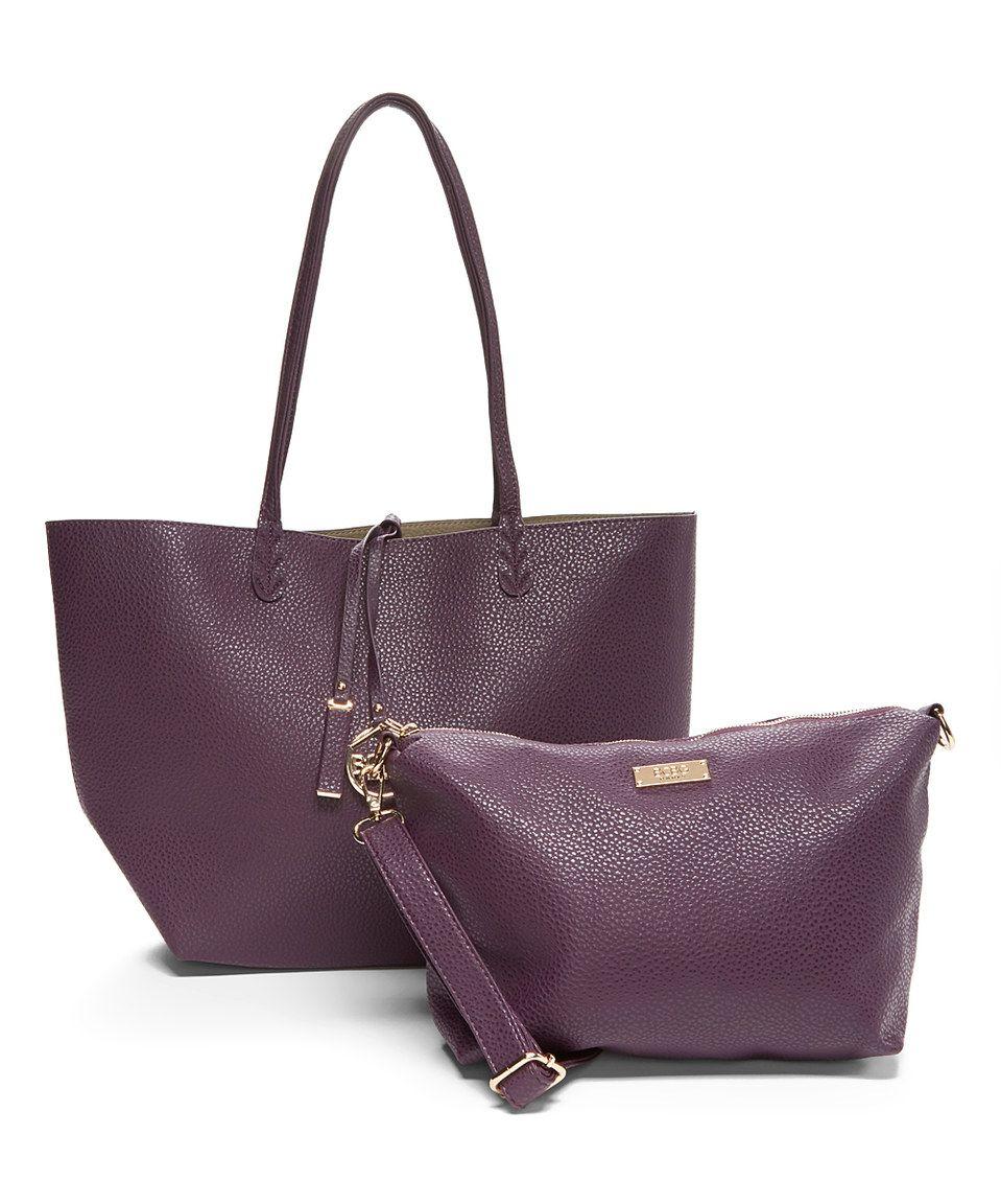 Purple & Dark Gray Reversible Tote & Crossbody Bag by BCBG Paris #zulily #zulilyfinds