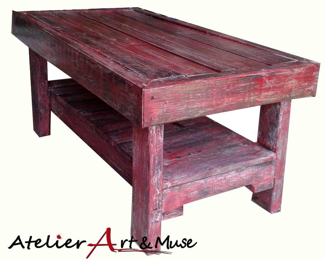 table de salon en bois de palette et peinture recycl s d coration salon pinterest atelier. Black Bedroom Furniture Sets. Home Design Ideas