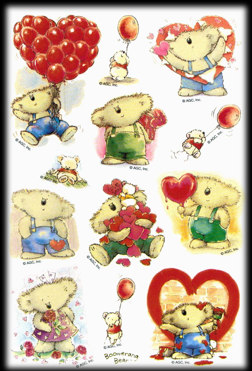 Vintage Agc Boomerang Bear Friendship Valentines Balloons Love